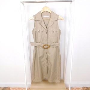 NWT Zara Tan Belted Collared Safari Shirt Dress